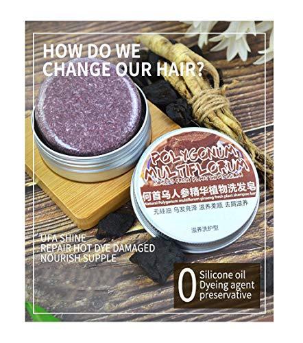 3 PC Shampoo Oscurante per capelli - Polygonum multiflorum Balsamo organico naturale per la crescita dei capelli, idrata e ripara i capelli danneggiati Essenza di erbe Sapone