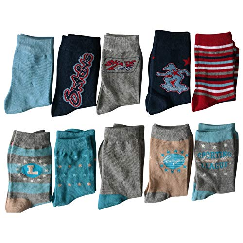 Lieblingsstrumpf24 10er Pack Socken Kinder Jungen Mädchen Baumwolle Öko-Tex Standard 100 (23-26, Sport-Motiv-Mix)