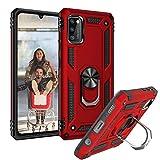 Mosoris Handyhülle für Samsung Galaxy A41 Hülle, Outdoor Handy Hüllen mit Ring Kickstand Stoßdämpfung Schutzhülle mit 360 Grad Drehbar Ringhalter Magnetischer Hülle Cover für Samsung A41, Rot