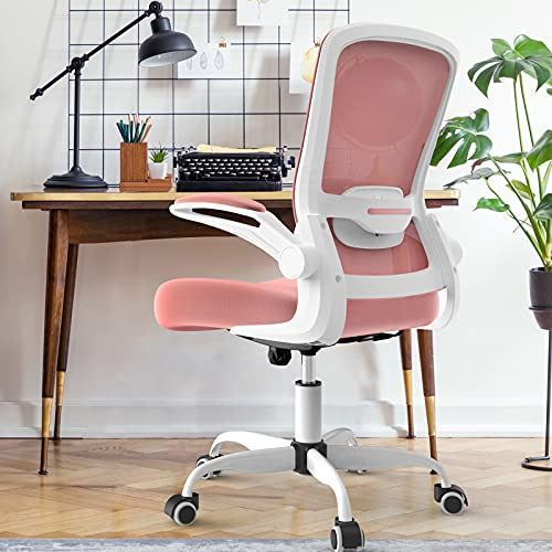 Mimoglad Office Chair, High Back Executive Computer Desk Chair - Adjustable Height and Flip-up Arms Swivel Chair Thick Padding for Comfort and Ergonomic Design for Lumbar Support (Pink)
