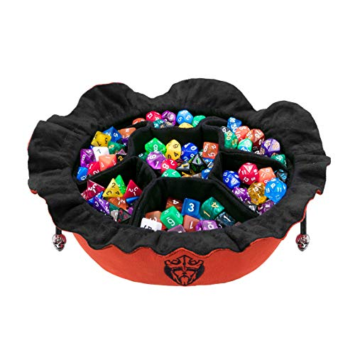 Immense Dice Bags with Pockets - Burnt Orange - Capacity 150+ Dice - Great for Dice Hoarders - by CardKingPro [Patented Design]