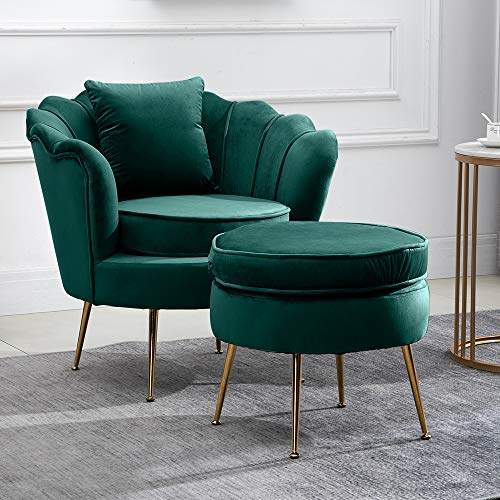 BonChoice Modern Accent Chair & Footstool Set Dark Green for Home/Office, Occasional Armchair Sofa Tub Chair with Ottoman for Living Room/Bedroom, Comfy Velvet Fabric+Golden Metal Legs