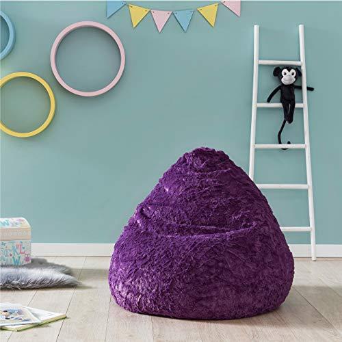 Lumaland Luxury Fluffy Sitzsack stylischer Webplüsch Beanbag 120L Füllung Bean Bag Chair Lila