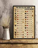 Crysss The Egg-Cellent Guide to Chicken Breeds Art Prints Poster Home Decoration Gift Metal Sign Toilet Rules Warning Sign Bar Cafe Garage Wall Decor Retro Vintage 8 x 12 Inch