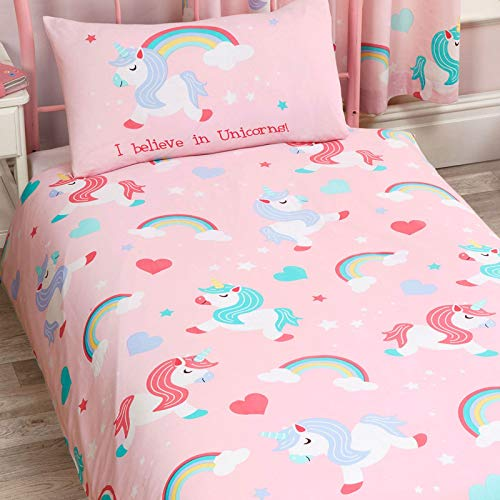 Set composto da copripiumino e federa per lettino singolo, motivo: 'I Believe in Unicorns', colore: rosa