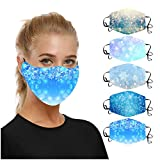 Jamicy 5 Stück Mund und Nasenschutz Weihnachten Waschbar Erwachsene 𝓶𝓪𝓼𝓴e, Anti Staub Mundschutz mit Schneeflocke Motiv Atmungsaktive Sportmundschutz für Damen Herren