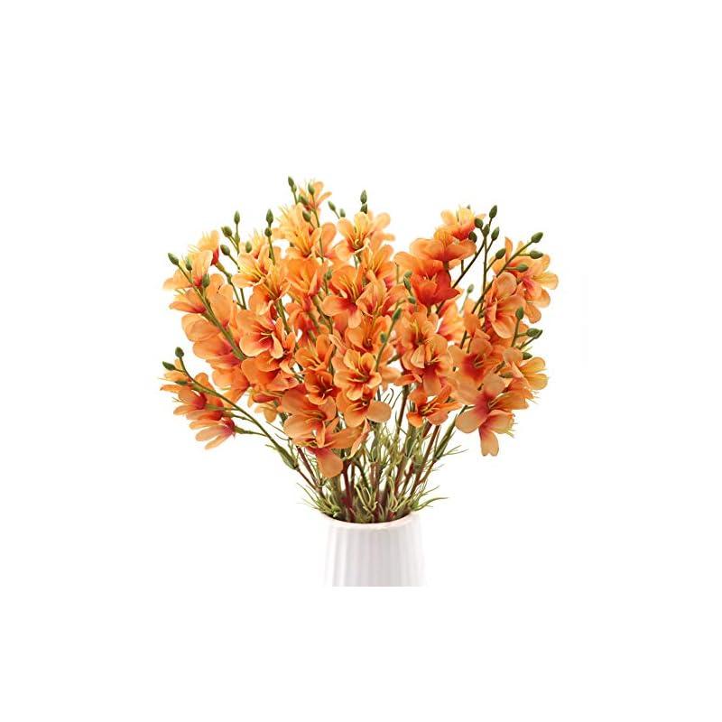 silk flower arrangements lsme 2pcs winter jasmine artificial silk flower bouquet arrangements table centerpiece decor vase home wedding party