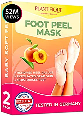 Dermatologically Certified Exfoliating Foot Peel Mask for Baby Soft Feet by Plantifique- 10X More Effective for Calluses, Dead & Dry Skin - Deep Cracked Heel Repair - 2 Pairs by Plantifique