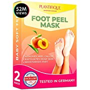 #LightningDeal Foot Peel Mask - Peach Feet Peeling Mask 2 Pack - Dermatologically Tested, Cracked Heel Repair, Dead Skin Remover for Baby Soft Feet - Exfoliating Peel Natural Treatment by Plantifique