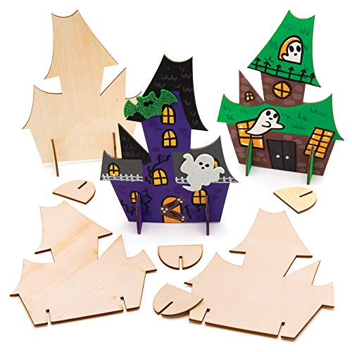 Baker Ross AW884 Wooden Haunted Houses - Pack Of 6, For Spooky Arts And Crafts Ornaments This Halloween