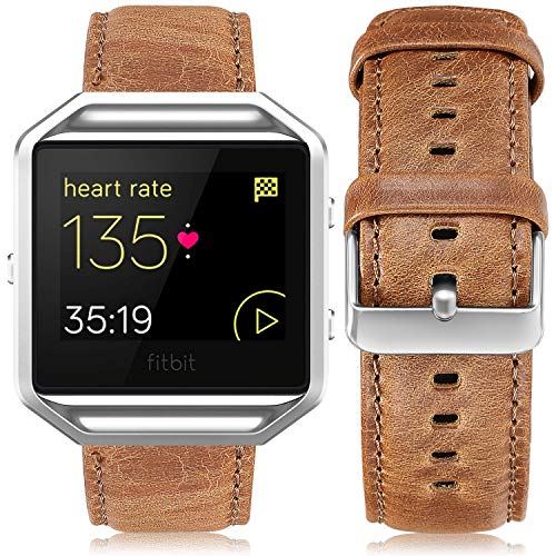 UMAXGET Leather Band Compatible with Fitbit Blaze, Retro Cowhide Genuine Leather Band with Black Silver Metal Frame Compatible with Fitbit Blaze Smart Watch Strap for Men Women, Light Brown Large