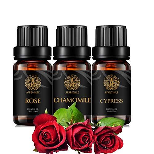 Aromaterapia Camomilla Olio Essenziale Set per diffusore, 3X10ml 100% Pure Rose olio Essential Kit per umidificatore-camomilla, rosa, cipresso Olio Essenziale Set, Aromaterapia Cypress Oli Kit