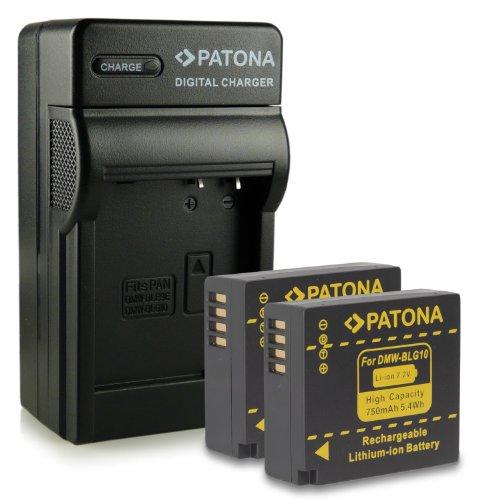 Bundle - 4en1 Cargador + 2x Batería DMW-BLG10 DMW-BLG10E para Panasonic Lumix DMC-GF6 | Lumix DMC-GX7 mucho más… [ Li-ion; 750mAh; 7.2V ]