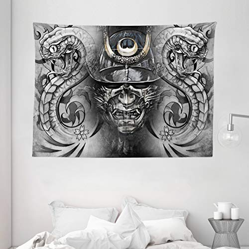 Ambesonne Chinese Tapestry, Tattoo Like Snakes Flowers Monochrome Traditional, Wide Wall Hanging for Bedroom Living Room Dorm, 80' X 60', Grey Black Brown