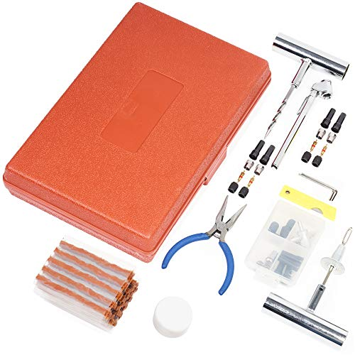 64 Pcs| Kit de Réparation de Pneu avec Mèches| Répare la Crevaison sur Les Motos, Voitures,...