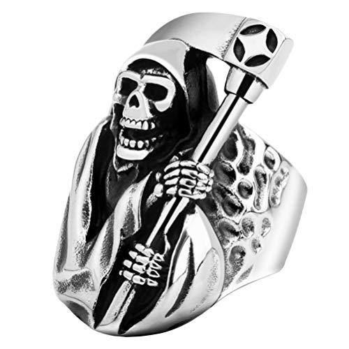 Happyyami Anéis de crânio de açúcar Os Mortos Góticos Casted Grim Ceifador Ceifador Caveira Joia de dedo para Mulheres Homens Decoração Tamanho 7 (Prata)