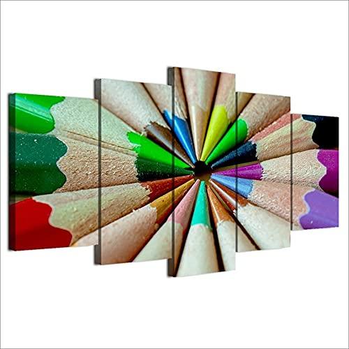 WJTYX Impresiones sobre Lienzo 5 Panel Lápiz Afilado de Color 5 Piezas Imprimir sobre Lienzo Canvas De 5 Pieza HD Cuadro Estilo Abstractos Moderna Salón Pared 150x80cm