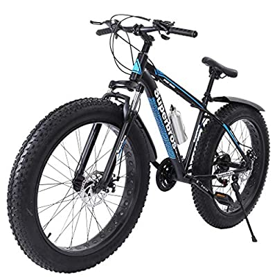 Fat Tire Mountain Bike 26-Inch Wheels Steel Frame 7-Speed Bicycle High-Tensile Aluminum Frame Bikes Outdoor Sports (Blue)