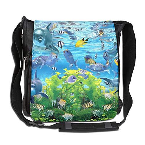 Doinh Abstract 3d Fish Aquarium Achtergrond Aangepaste Canvas Messenger Tas, Inclined Schoudertas, Geschikt voor zowel mannen als vrouwen