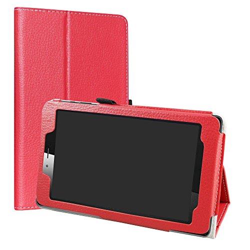 Vodafone Smart Tab Mini 7 / Alcatel Pixi 4 7 Custodia,LiuShan slim Sottile Pieghevole con supporto in Piedi caso per 7' Vodafone Smart Tab Mini 7 / Alcatel Pixi 4 7 Tablet,Rosso