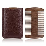 SIAMHOO Beard Comb, Wooden Beard Comb for Men, Sandalwood Dual-Sided with Fine&Coarse Teeth, Anti-Static Golden Wood Comb, Mustache Care Grooming Kit