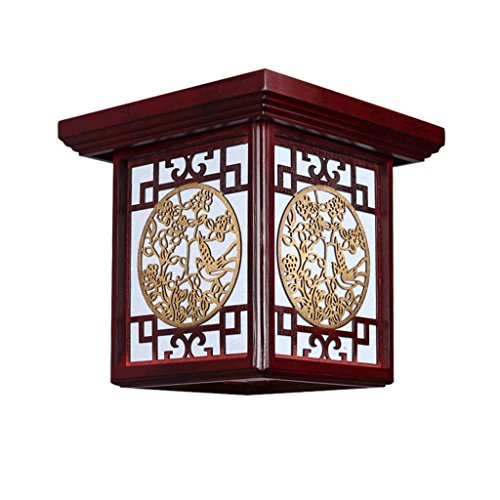 New Chinese Ceiling Lamp, Creative Modern Solid Wood Led Energy Saving Ceiling, Square Balcony Hall Bedroom Corridor Lighting (Color : A)