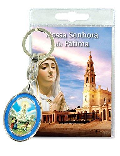 Ferrari & Arrighetti Llavero Virgen de Fátima con oración en portugués (Paquete de 3 Piezas)