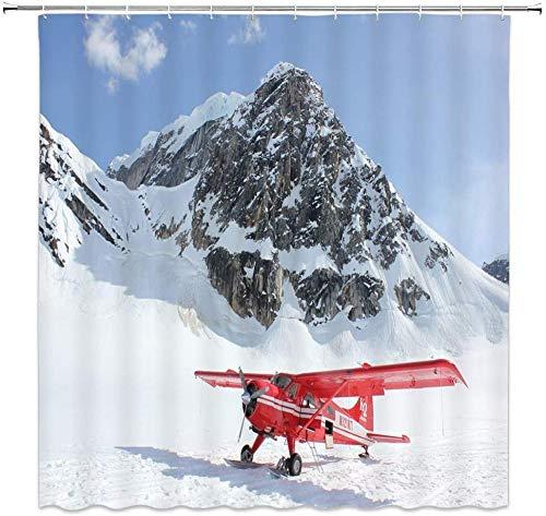 QAZX Roter Hubschrauber Duschvorhang Flugzeug Flugzeug Schnee Berg Naturlandschaft Dekoratives Tuch Bad Vorhang Weiß Blau Modern Bad Vorhang 71x71 Zoll 12 Kunststoff Haken