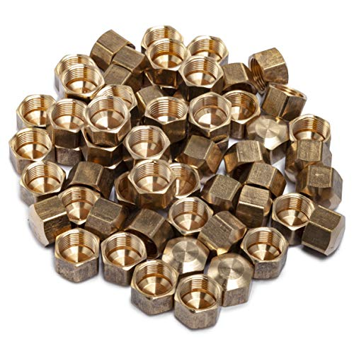LTWFITTING 3/8-Inch Brass Compression Cap Stop Valve Cap,Brass Compression Fitting(Pack of 60)