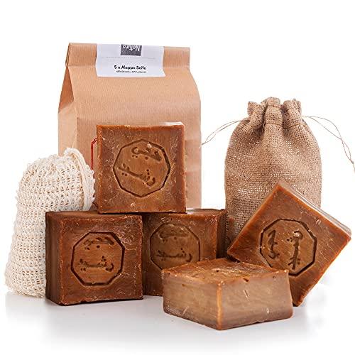 Jabón de Alepo 5x 60% Aceite de Oliva 40% Aceite de Laurel +1x Bolsas de Jabón de Sisal +1x Bolsa de Almacenamiento (cada jabón aprox. 200gr.)