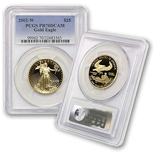 2002 W 1/2 oz Proof Gold American Eagle PR-70 Deep Cameo by CoinFolio $25 PR70DCAM PCGS