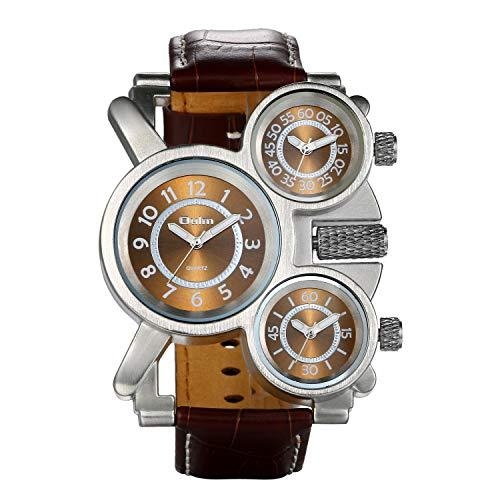 JewelryWe Grande Reloj Militar Deportivo 3 Zonas Horario Reloj de Pulsera Cuero Marrón, Reloj Cuarzo Frikis para Hombre, Reloj de Piloto Viajero de Estilo Retro Punk, Regalo Original