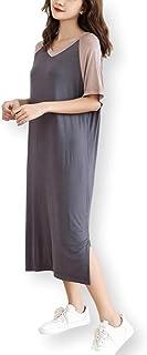 [サフィーブラウ] レディース Tシャツ ワンピース 半袖 Vネック 2色 切り替え ロング マキシ丈 さらっと 柔らか 夏 tワンピ
