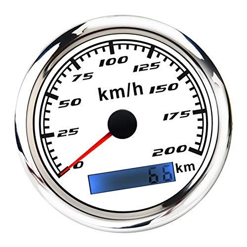 Enviar artículos 316 Acero Inoxidable L Bisel 85mm (3/8 '') GPS Speedometer Gauge 200 MPk odómetro para un TV Motorcycle Marine Boat Durable (Color : White)