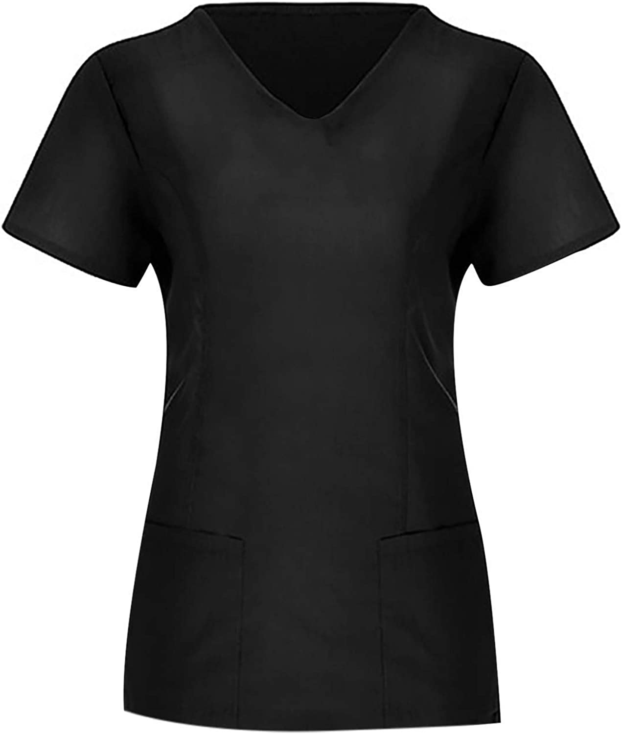 Women's Short Sleeve V Neck Solid Color Tee Shirts Workwear Scrub_Tops Working Uniform Tops Blouse with Pockets