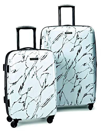American Tourister Moonlight Hardside Expandable Luggage with Spinner Wheels, Marble, 2-Piece Set (21/24)