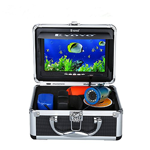 Eyoyo Underwater Fishing Video Camera Fish Finder w  7  Color LCD Monitor and 1000tvl Waterproof Camera 12ps White LEDs 15m Cable 4500mah Rechargeable Battery