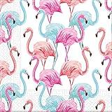 Procos 92206 - Servilletas Tropical Flamingo 20 Unidades, tamaño 33 x 33 cm, servilletas de Papel compostable, decoración de Mesa, Bufanda, Fiesta, Verano
