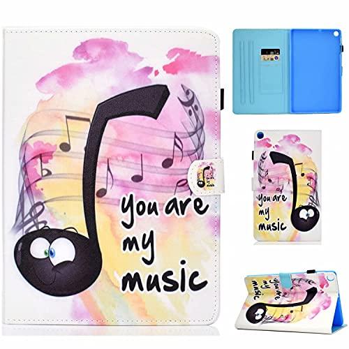 TTNAO Funda Compatible con Samsung Galaxy Tab S6 Lite 10.4'' Case de TPU Suave Carcasa [+ Ranuras para Tarjetas] [+ Soporte de Visualización] Cover de Piel Cartera Plegable, Música