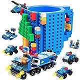Build on Brick Mug for Kids Adults Boys, Cusod Novelty Coffee Mugs Compatible with Lego, Fun Coffee Mugs for Birthday Festival Gift Ideas, 16OZ Unique Cool DIY Cups, Block Buddy Mug with 6 in 1 Blocks