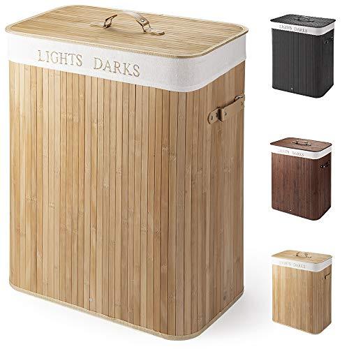 Virklyee Wäschekorb aus Bambus 100L Faltbare Wäschekorb Groß mit 2 Fächern Herausnehmbaren Wäschesortierer Wäschetruhe Wäschebox Wäschesammler Bambus Wäschekorb Wäschesack mit Deckel (Holzfarbe)
