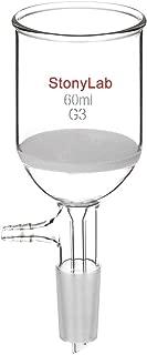 StonyLab Borosilicate Glass Buchner Filtering Funnel with Fine Frit (G3), 46mm Inner-Diameter, 60mm Depth, with 24/40 Standard Taper Inner Joint and Vacuum Serrated Tubulation (60 mL)