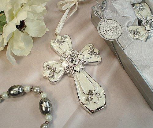 Wedding Favors Medium ivory silver classic cross ornament