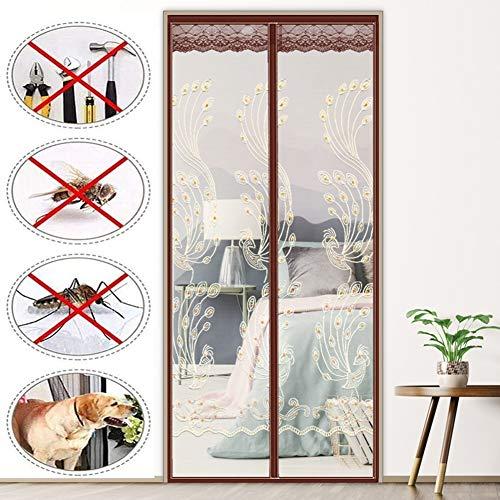 Moskitonetz Magnetische Tür Schiebevorhang Tür Vorhang Außen Magnetische Automatische Anti-Insektenfliegen und Mücken (Color : Brown, Size : 95X210cm)