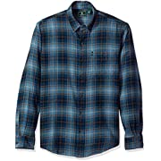 G.H. Bass & Co. Men's Fireside Flannels Long Sleeve Button Down Shirt, Blue Wing Teal, X-Large