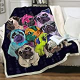 Sleepwish Sherpa Fleece Bed Throw Colorful Pugs Pop Art Style Print Soft and Fuzzy Plush Blanket Gifts for Pet Animals Puppy Dog Lovers Twin(60'x80')