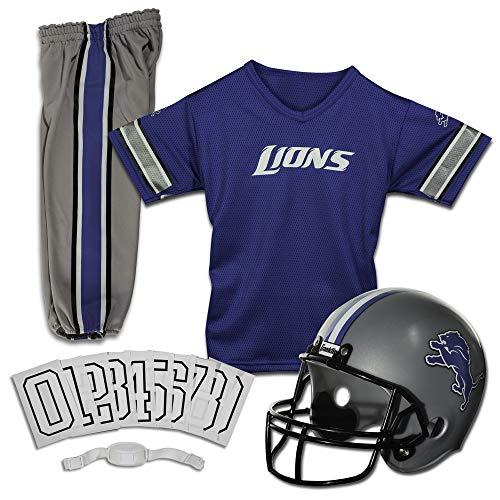 Franklin Sports Detroit Lions Kids Football Uniform Set - NFL Youth Football Costume for Boys & Girls - Set Includes Helmet, Jersey & Pants - Small