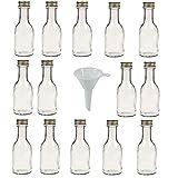 14 leere Glasflaschen mit Schraubverschluss 100 ml zum Selbstbefüllen inkl. einem weißem Einfülltrichter Ø 5 cm