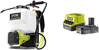 Ryobi RY18BPSA-0 18V ONE+ Cordless Backpack Sprayer (Bare Tool), 18 V & RC18120-120 18V ONE+ Lithium+ 2.0Ah Battery and Ch...