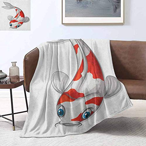 RenteriaDecor Fish Beach Blanket Grey and Red Koi Displayed in Dipping Motion Abstract Illustration of Aquarium 60x80 Inch Plush Fuzzy Large Fleece Throw Blanket
